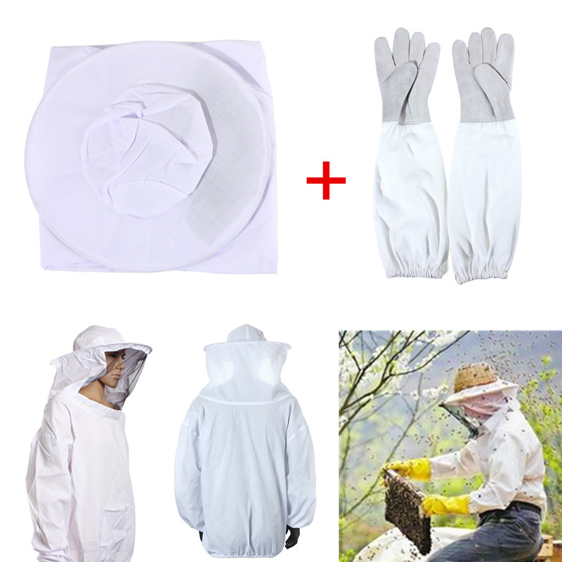 Outdoor Safely Security Protector White Cotton Protective Bee Keeping Jacket Veil Suit +1 Pair Beekeeping Long Sleeve Gloves