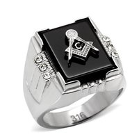 L Y Men S Fashion Ring Stainless Steel Agate Masonic Rings High Polished Environmental Friendly Lead