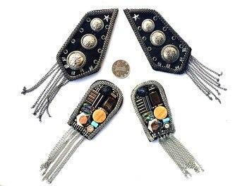 Parches de cuentas de diamantes de imitación metalpunk-tessel perle para coudre vetement applique cose en parches para ropa bordada para costura