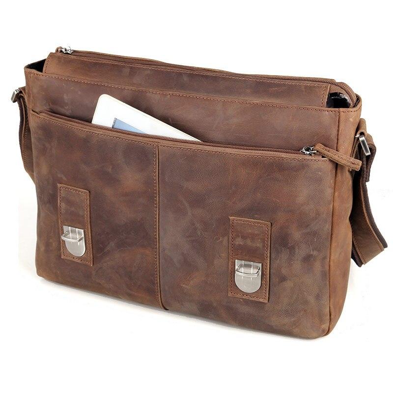 21cb334ca054 Vintage Crazy Horse Leather Men Shoulder bag Genuine Leather Messenger Bag  men Crossbody Bag Sling Leisure Bag Casual Brown on Aliexpress.com