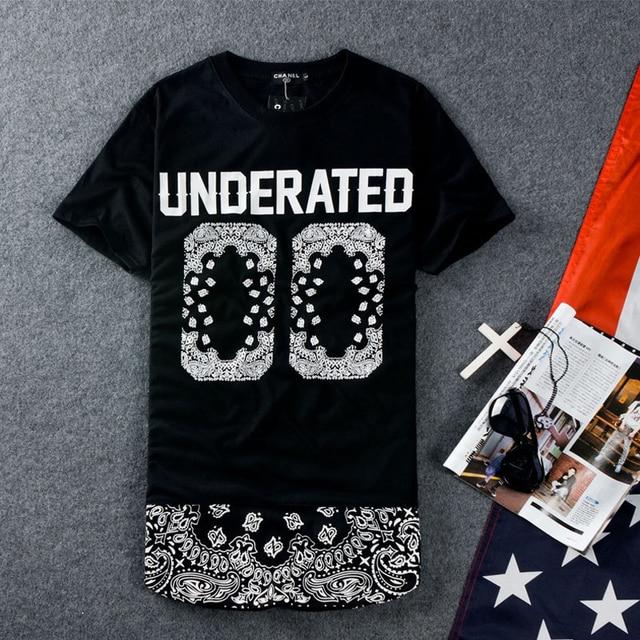 Skateboard T-Shirt Hip Hop Streetwear Tees Short Sleeve Swag T-shirt Bandana UNDERATED 00 Bandana Man's Extended T Shirts Men
