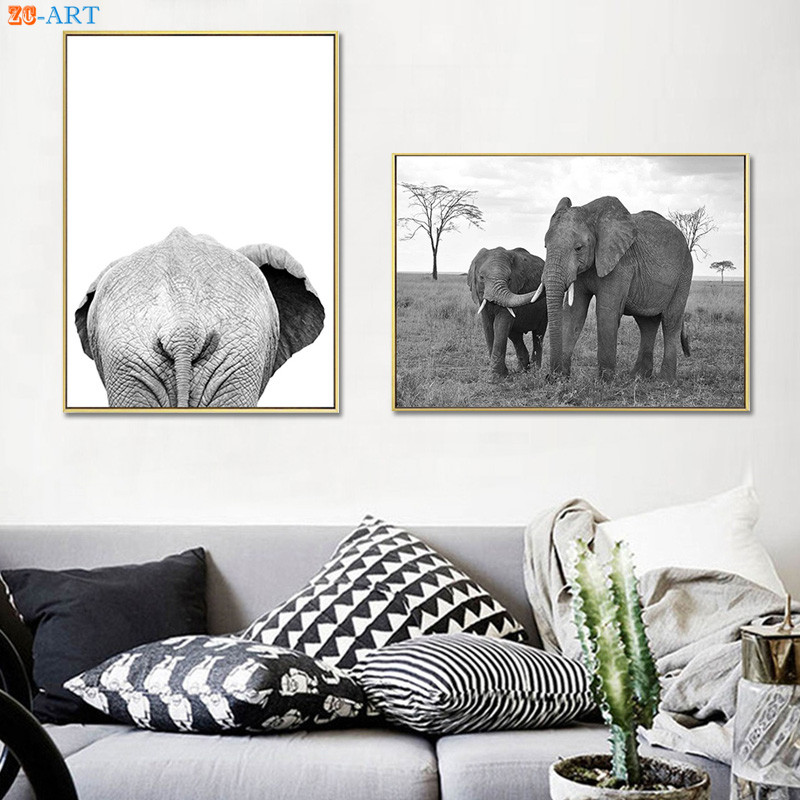 Black and White Poster Elephant Print Wildness Wall Art Modern Canvas Painting Nursery Besroom Home Decor african elephant