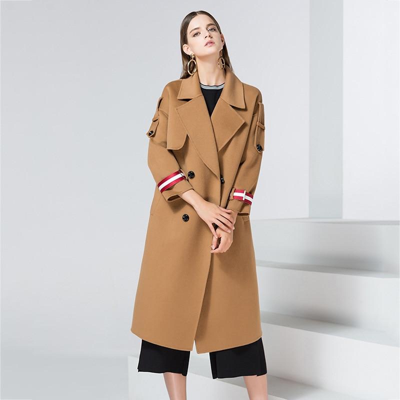 Взлетно посадочной полосы кашемир Пальто для будущих мам Куртки для Для женщин длинные элегантные женские черные твид шерсть пальто Макси