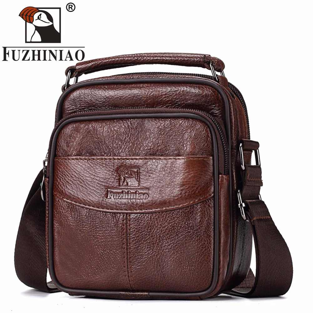 FUZHINIAO TOP Quality New Men Messenger Bags Casual Multifunction Male Travel Genuine Leather Shoulder Bag Handbags Masculina