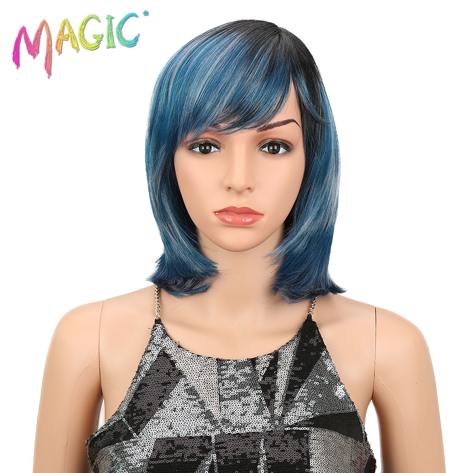 Magci Hair African American Bangs False Wigs 12 Inch Short Ombre Blonde Wigs 22 Colors Straight Synthetic Wigs For Black Women
