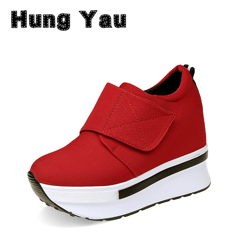 Hung Yau Women Casual Daily Shoes Sneaker Black Woman High Platform 2017 New Woman Creepers Internal increase Ankle Boots Size 8 phyanic 2017 gladiator sandals gold silver shoes woman summer platform wedges glitters creepers casual women shoes phy3323
