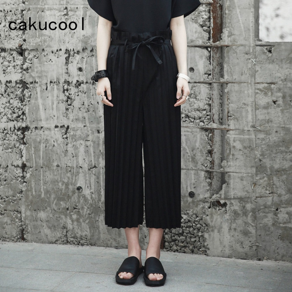 Cakucool New Women Summer Loose Pleated   Capris   High Waist Drawstring Wide Leg   Pants   Casual Ankle-length Black   Pant   Female Large