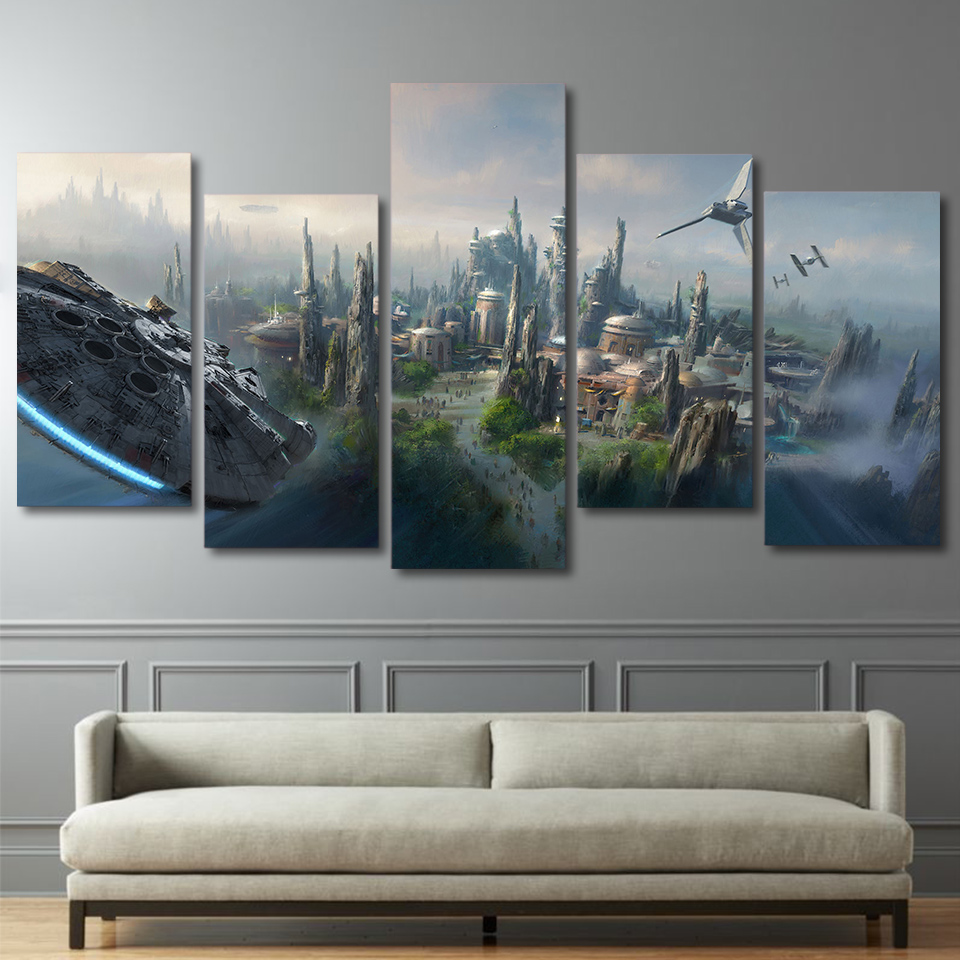 Hd Printed 5 Piece Canvas Art Movie Poster Star Wars Large