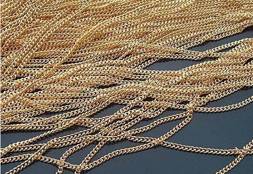 20M/lot 2MM/w Gold Plated Metal Special Chains Link Chain Jewelry Accessories Findings