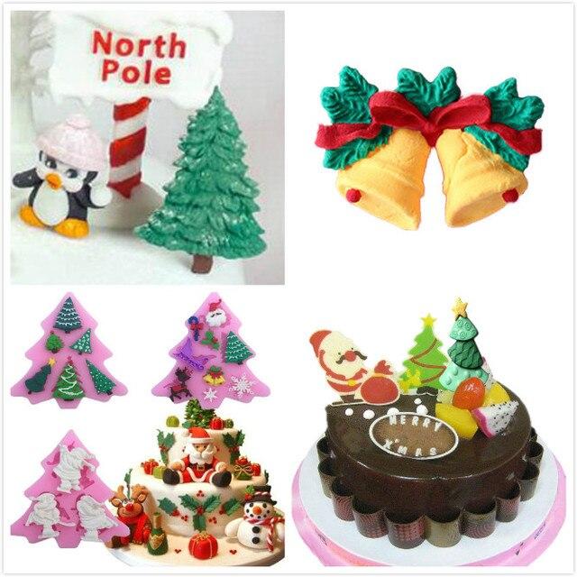 Practico Silicona Arbol De Navidad Snowflake Cake Fondant Molde