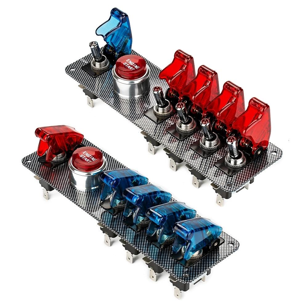 Jtron DC12V fibra de carbono Racing Car interruptor de encendido Panel + 5 LED interruptor de palanca interruptor de combinación para Racing Sport competitivo