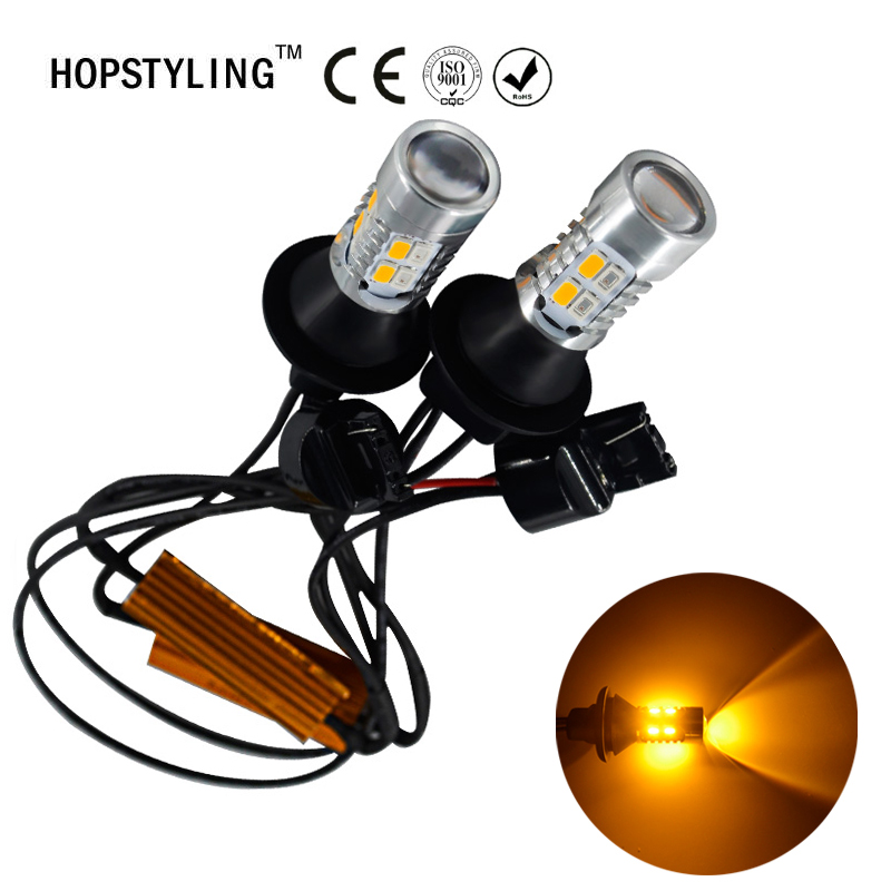 HOPSTYLING car led light daytime running light & Front Turn Signals light Car drl led Winker White + Yellow 20W T20 7440 WY21W night lord for nissanteana wy21w 7440 t20 winker blinker led drl