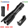 1Set LED Flashlight XM-L T6 4000LM E17 CREE Led Torch Zoomable Linternas Light For 18650 Battery Linterna Free Shipping