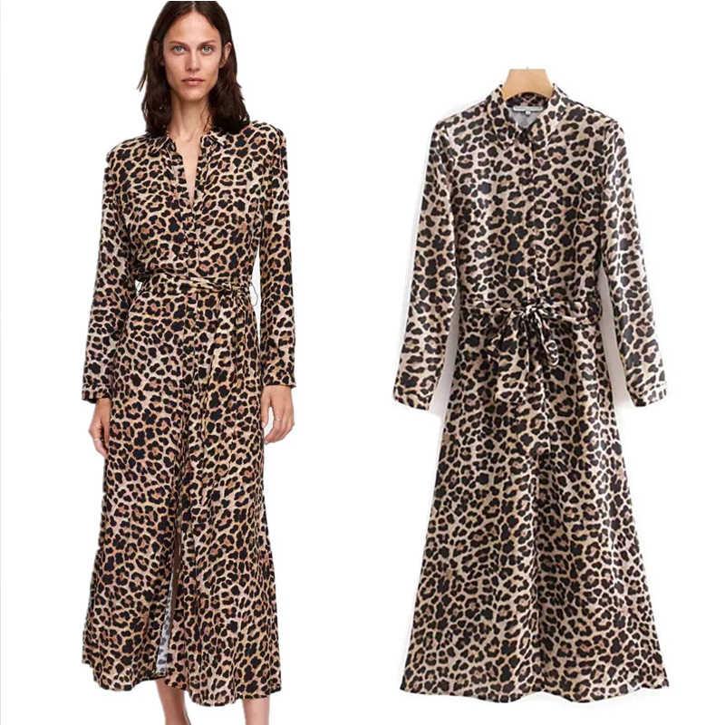 5c89f19ad7a COZARII Леопардовый принт feminina платье 2018 английский стиль Леопардовый  принт пояса бант отложной воротник миди платье