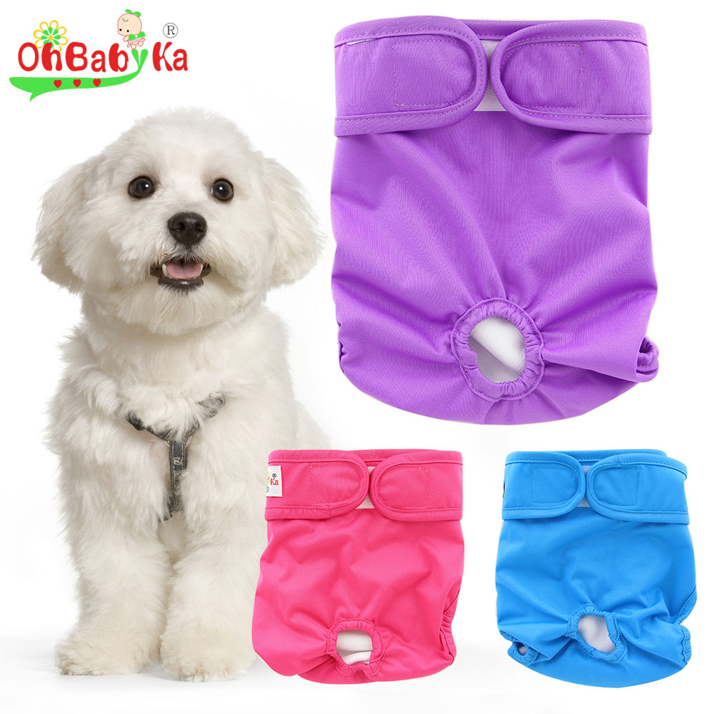 Ohbabyka Reusable Dog Diapers Washable Doggie Diapers Lovely Dog Nappy Changing Pet Dog Pant Stylish Sanitary Dog Pants 9colors