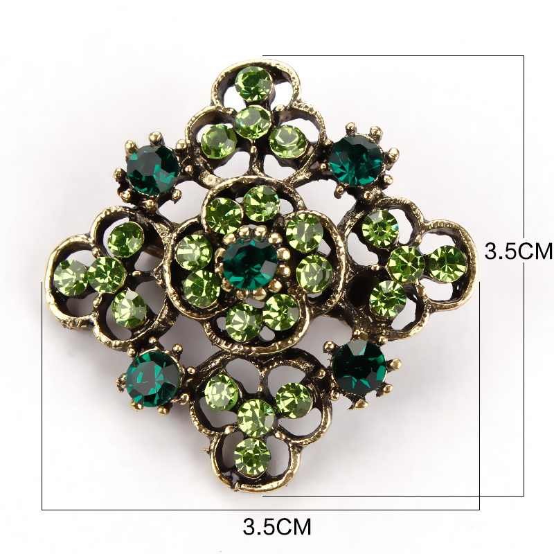 Baiduqiandu Retro Antik Warna Emas Berlapis Kristal Berlian Imitasi Bunga Pin dan Bros untuk Wanita Pesta Bouquet Bros Pin