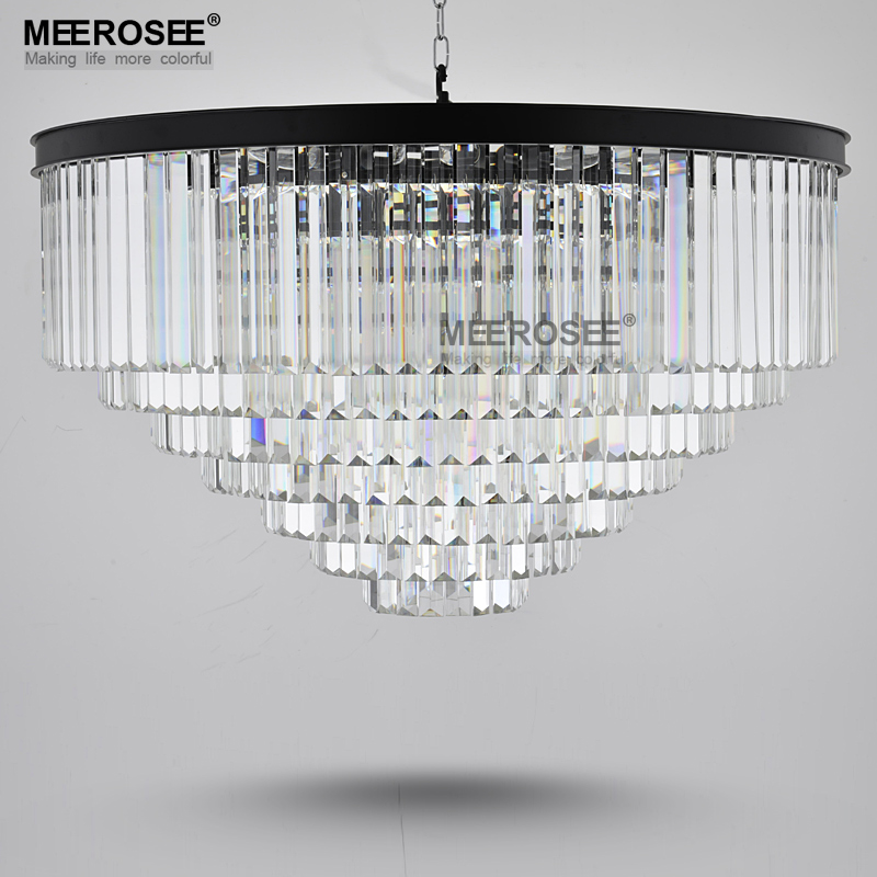 Modern K9 Crystal Chandelier Light HotSale Clear Cristal Hanging Lamp Black Color Drop Lustre illumination for Living room Hotel