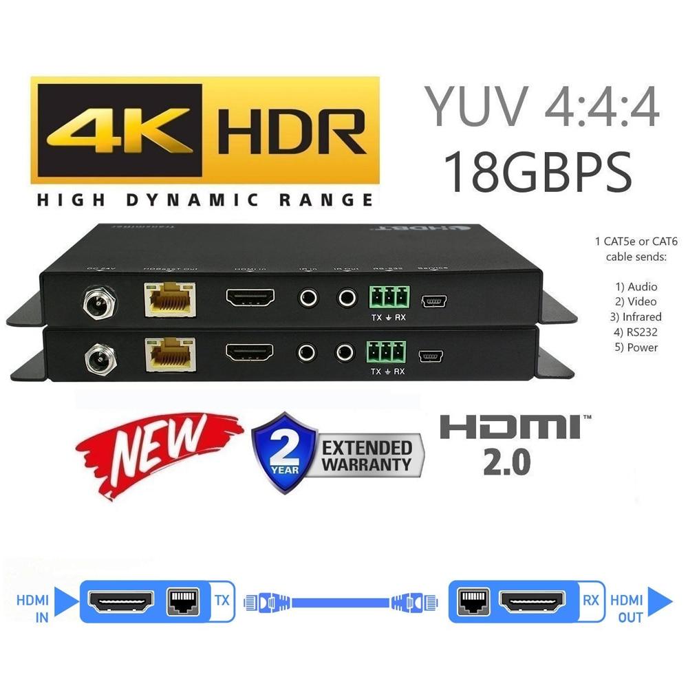 UHD 4K @ 60Hz HDMI 2.0 HDCP 2.2/1.4 prise en charge RS232 et 38KHz ~ 56KHz IR Transmission HDMI HDBaseT POC Extender 70m par UTP Cat5e Cat 6