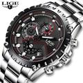 LIGE Neue Mode Quarzuhr Männer Top Marke Luxus Sport Herren Uhren Militär Wasserdichte Chronograph Uhr Relogio Masculino-in Quarz-Uhren aus Uhren bei