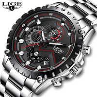 LIGE New Fashion Quartz Watch Men Top Brand Luxury Sport Mens Watches Military Waterproof Chronograph Clock Relogio Masculino