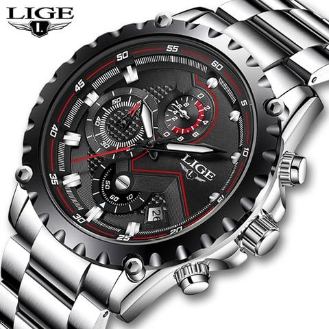 LIGE New Fashion Quartz Watch Men Top Brand Luxury Sport Mens Watches Military Waterproof Chronograph Clock Relogio Masculino Pakistan