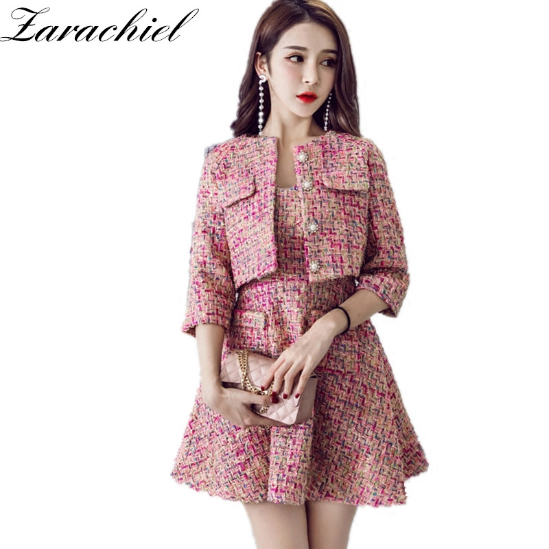 Zarachiel Pink Tweed Short Jacket + Sleeveless Vest Dress ...