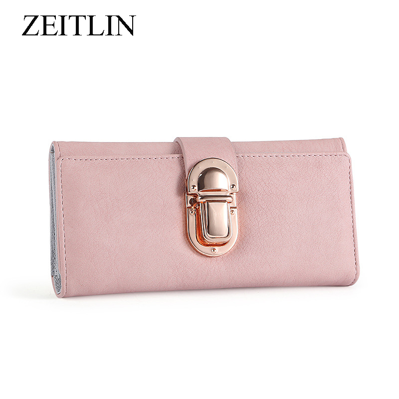 Multi-card Three-fold Buckle PU Leather Long Wallet Mobile Phone Clutch Large Capacity Simple Card Package with Metal Lock Kkre