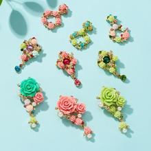 Rinhoo Crystal Colorful Brooch Flower Pearl Butterfly Round Cutout Rhinestone Plant Women Fashion Dress Corsage Jewelry