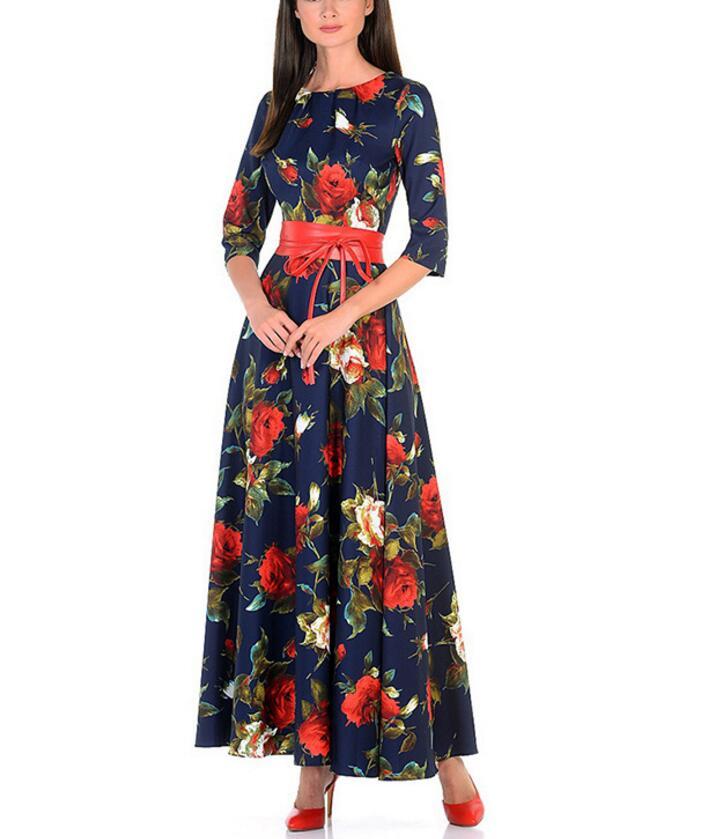 ca2fb74ccb643cc Женское модное осеннее платье с принтом розы, длинные платья хорошего  качества для женщин в русском