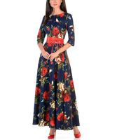 For women print fashion autumn dress with rose print Long dresses good quality For women Russian style casual autumn dress