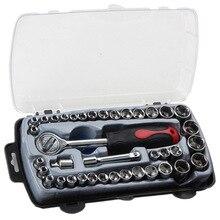 40Pcs T 모양 자동차 수리 도구 소켓 세트 부식 방지 래칫 렌치 조합 도구 운반 상자 키트와 자동 복구