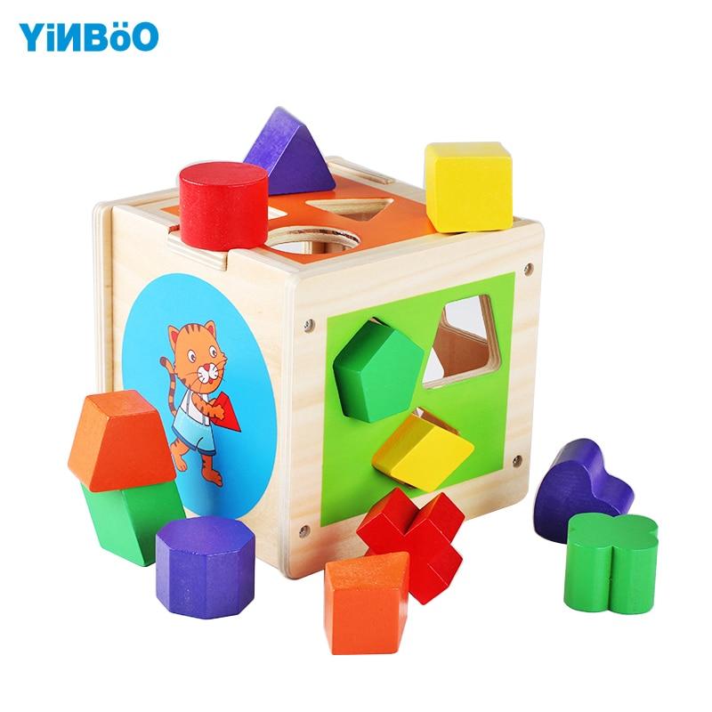 Игрушки для маленьких детей деревянный классический multi Форма сортировщик Интеллект коробка и когнитивных соответствующие строительные Б...