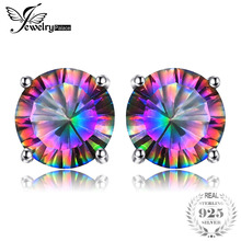 1.6ct Autentic Mystic Rainbow Mystic Topaz Cercei Stud Solid 925 Sterling Silver concave Răsfoire uimitoare
