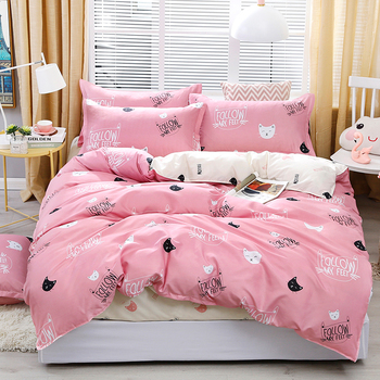 Solstice Bedding Set Pink With Cat Faces