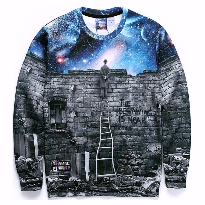 Men's Clothing Men/women Fashion Sweatshirts 3d Print A Person Watching Space Meteor Shower Casual Galaxy Tops