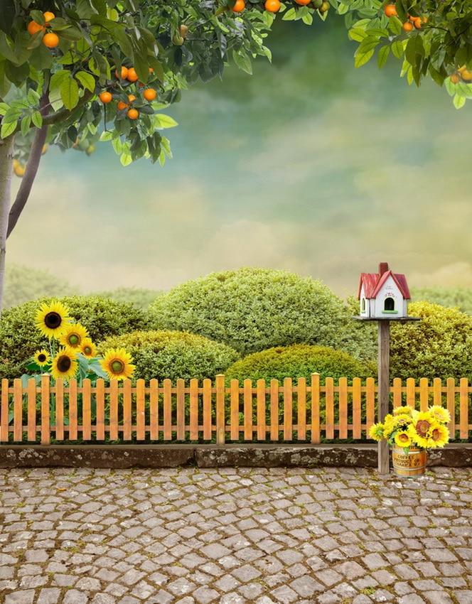 TR Beautiful Garden Plants Wood Fence Brick Floor Photography ...