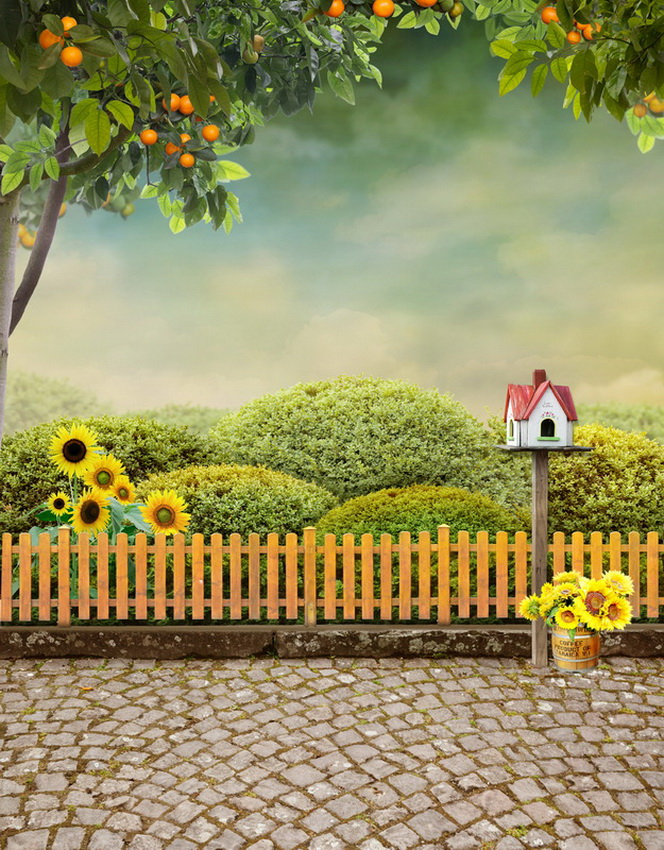 TR Beautiful Garden Plants Wood Fence Brick Floor Photography Backdrops Green Orange Tree Sunflower Backgrounds for Photo Studio