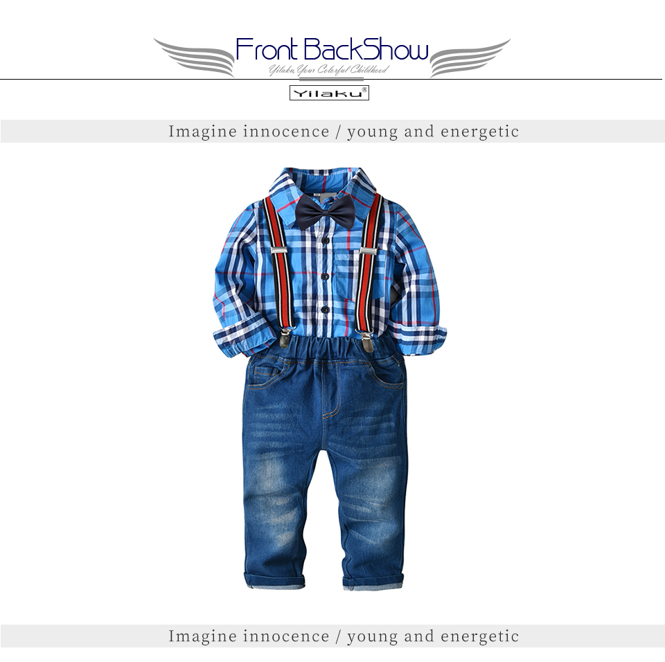 13daef181148 Yilaku Autumn Toddler Boy Clothes Set Bow Tie Shirts + Suspenders ...