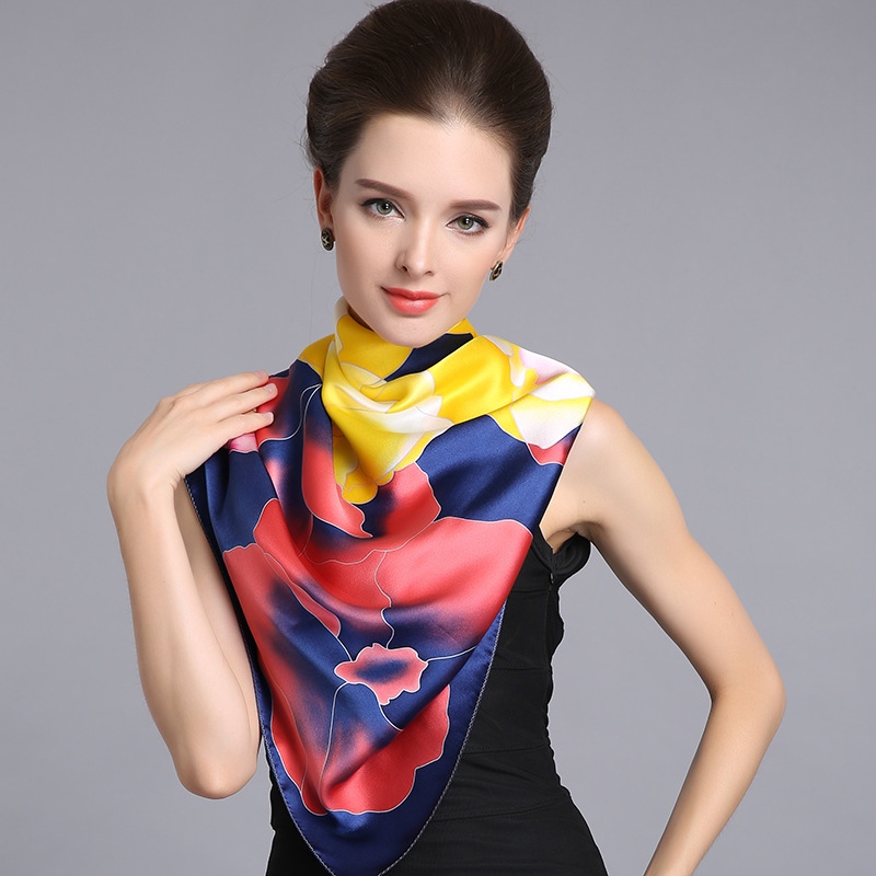 Top Grade  Luxury Hand-painted 100% silk scarf women's square spring autumn summer bask 110cm*110cm shawl pure silk scarves