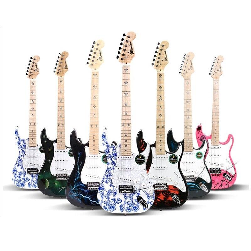 Minsine Électrique Guitare À Bascule ST Électronique Guitare Ensemble Multi Lecteur Starter Pleine fermé bouton D003