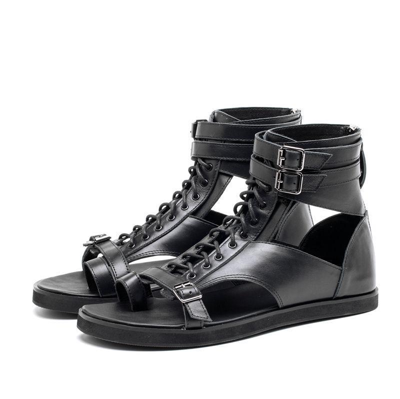 Branco preto flip flops tornozelo gladiadores apartamentos fivela de couro genuíno rendas até roma estilo punk verão sandálias ao ar livre sapatos casuais - 5