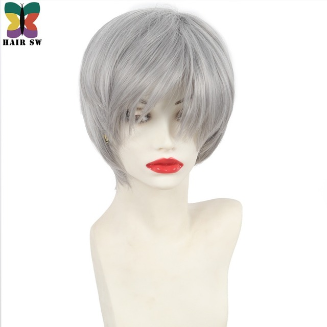 Hair Sw Short Straight Grey Synthetic Wig Haircuts Pixie Shag