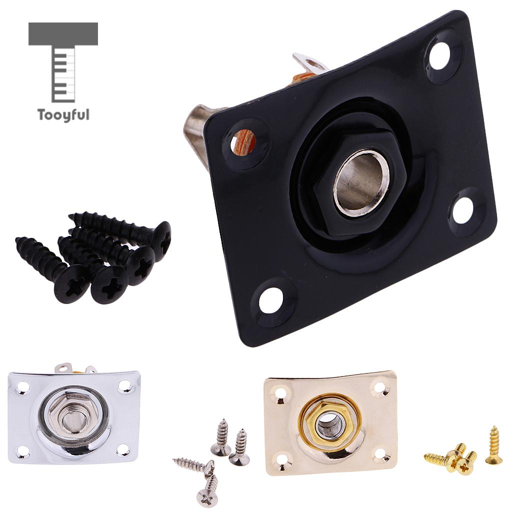 Tooyful Tooyful Rectangle Guitar Bass Output Jack Plate w/ Socket Screws for Electric Gb Ep Guitar