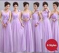 6 Styles V-Neck A-Line Chiffon Purple Bridemaid Dresses/vestido de festa de casamento/cheap bridesmaid dresses under 50