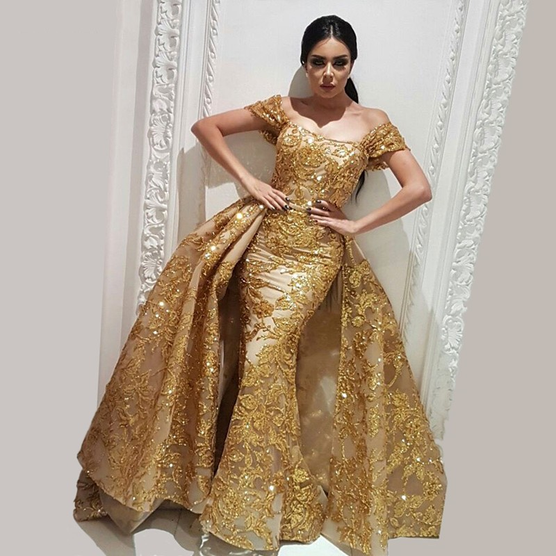 Prom Dress With Detachable Train: Luxury Dubai Gold Mermaid Prom Gowns With Puffy Detachable