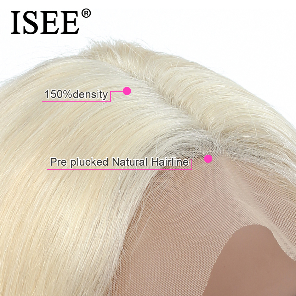 Brazilian Straight 613 Lace Front Wig 150% Density 13x4 ISEE HAIR Straight Honey Blonde Lace Front Human Hair Wigs For Women - 4
