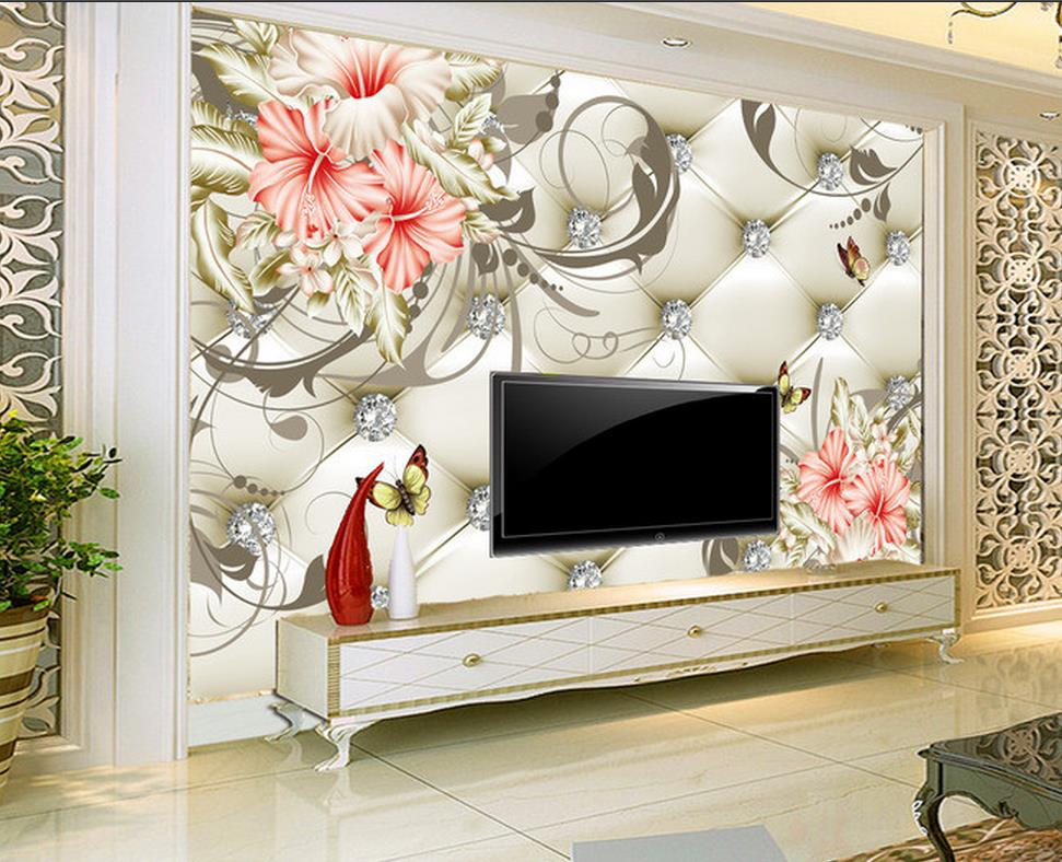 Custom 3d photo wallpaper lily background wall painting for 3d wallpaper for home singapore