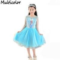 2016 Hot Sell Elsa Anna Girls Princess Children Dress Party Fantasia Cloth Vestidos Infants Dress Summer
