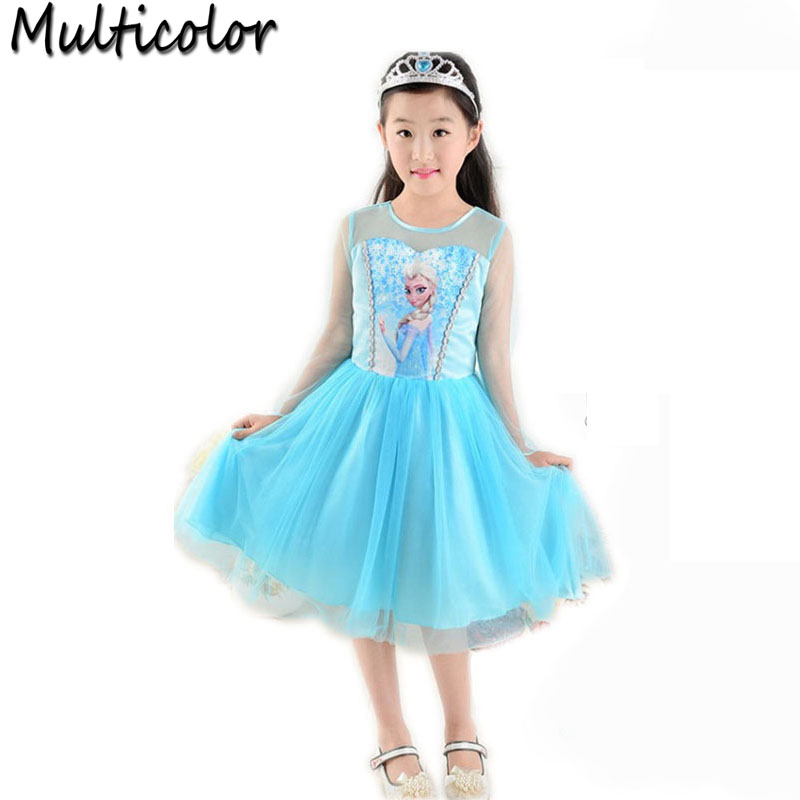 2017 Hot Sell Elsa Anna Girls Princess Children Dress Party Fantasia Cloth Vestidos Infants Dress Summer Baby Kid Custom Dresses