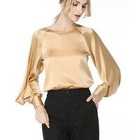 92% шелковая блузка Для женщин рубашка сплошной Винтаж дизайн с круглым вырезом и длинными Фонари рукава 2 цвета офисные Топ Изящные Стиль Но